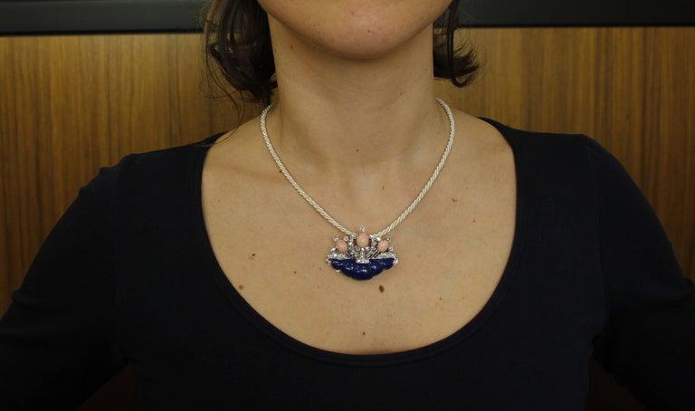 Diamonds, Coral, Lapis Lazuli, 14 Karat White Gold Brooch For Sale 3