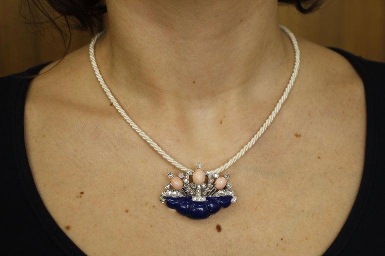 Diamonds, Coral, Lapis Lazuli, 14 Karat White Gold Brooch For Sale 4