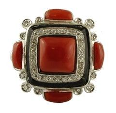 Diamonds, Coral, Onyx, 14 Karat White Gold Ring