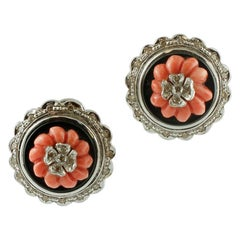 Diamonds, Coral, Onyx, 14 Karat White Gold, Vintage Stud Earrings