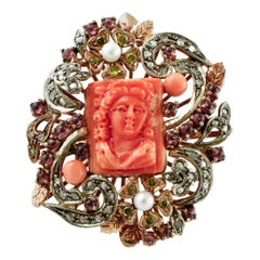 Diamond,Engraved Red Coral/Buttons,Pearls,Yellow Stones,Garnets,Gold/Silver Ring