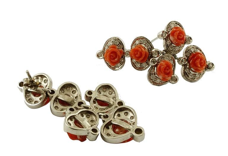 Retro Diamonds, Red Coral Flowers, 14 Karat White Gold Retrò Dangle Earrings For Sale