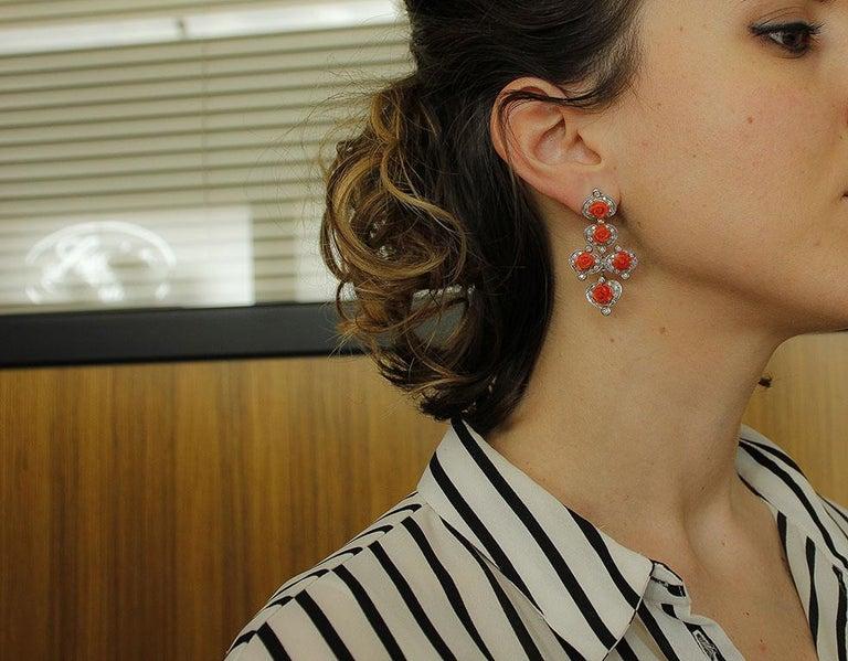 Women's Diamonds, Red Coral Flowers, 14 Karat White Gold Retrò Dangle Earrings For Sale