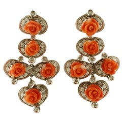 Diamonds, Coral Roses, 14 Karat White Gold Retro Dangle Earrings