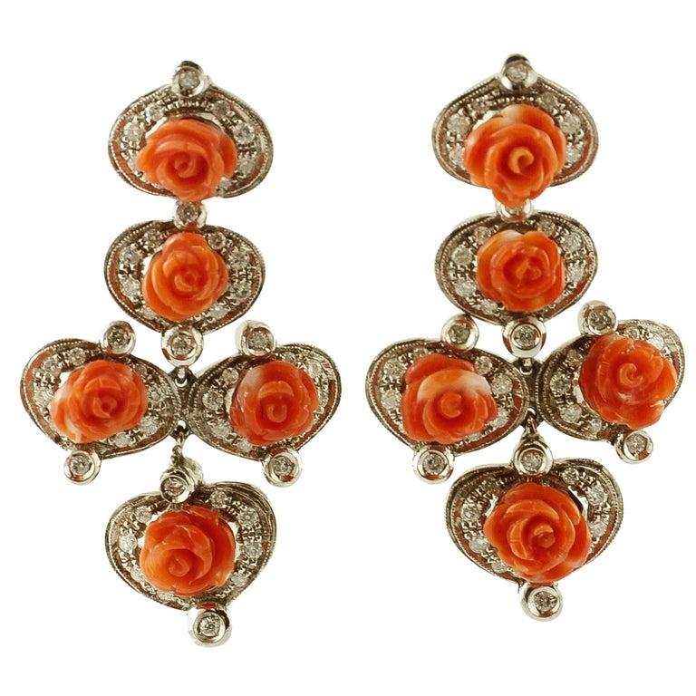 Diamonds, Red Coral Flowers, 14 Karat White Gold Retrò Dangle Earrings For Sale