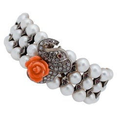Diamonds, Coral, Rubies, Pearls, 9 Karat Rose Gold and Silver Beaded Bracelet