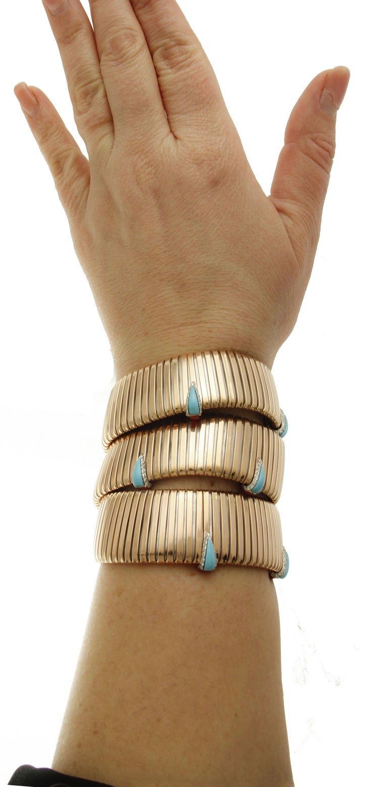 Diamonds, Coral, Turquoise Rose Gold Reverse Bracelet For Sale 6