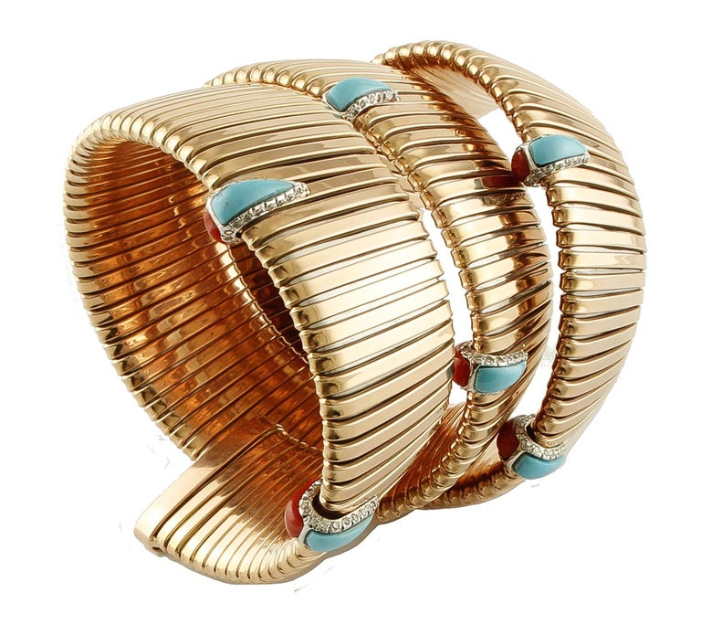 Retro Diamonds, Coral, Turquoise Rose Gold Reverse Bracelet For Sale
