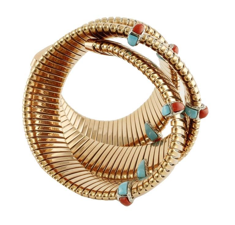 Women's Diamonds, Coral, Turquoise Rose Gold Reverse Bracelet For Sale