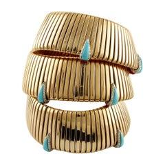 Diamonds, Coral, Turquoise Rose Gold Reverse Bracelet