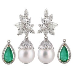 Diamonds Earrings in 18K Gold with Changeable Drops of Emeralds and Pearls