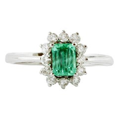 Diamonds, Emerald, 18 Karat White Gold Engagement Ring