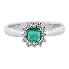 Diamonds, Emerald, 18 Karat White Gold Engagement Ring