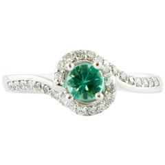 Diamonds, Emerald, 18 Karat White Gold Engagement/Solitaire Ring