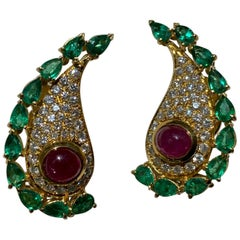 Diamonds Emerald and Rubies Cabochon Clip-On Earrings
