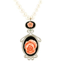 Diamonds,Emerald,Onyx,Pink Coral Flower,Pearl,White Gold Beaded Pendant Necklace
