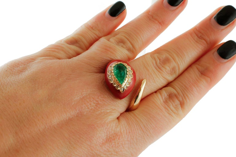 Diamonds, Emerald, Red Coral Paste, Rose Gold, Snake Shape Fashion Ring For Sale 2