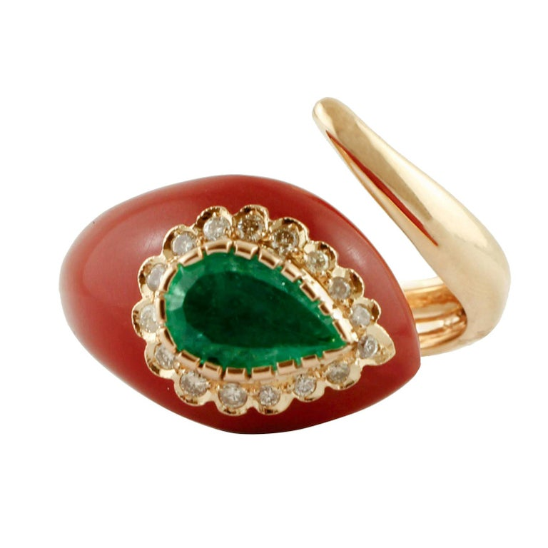 Diamonds, Emerald, Red Coral Paste, Rose Gold, Snake Shape Fashion Ring For Sale
