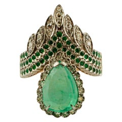 Diamonds, Emerald, Tsavorite, 9 Karat Yellow Gold and Silver, Vintage Ring