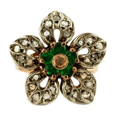 Diamonds, Emeralds, 14 Karat Rose Gold and Silver Retro Flower Ring