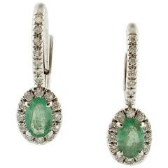 Diamonds, Emeralds, 18 Karat White Gold Modern Earrings