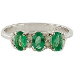 Diamonds, Emeralds, 18 Karat White Gold Ring