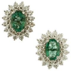 Diamonds, Emeralds, 18 Karat White Gold Stud Earrings