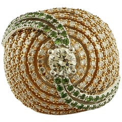 Diamonds, Emeralds, 18 Karat White and Rose Gold Ring