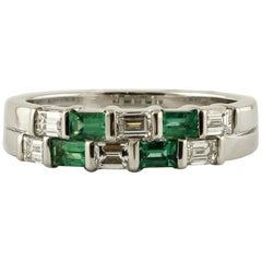 Diamonds, Emeralds, 18 Karat White Gold Double-Bands Ring