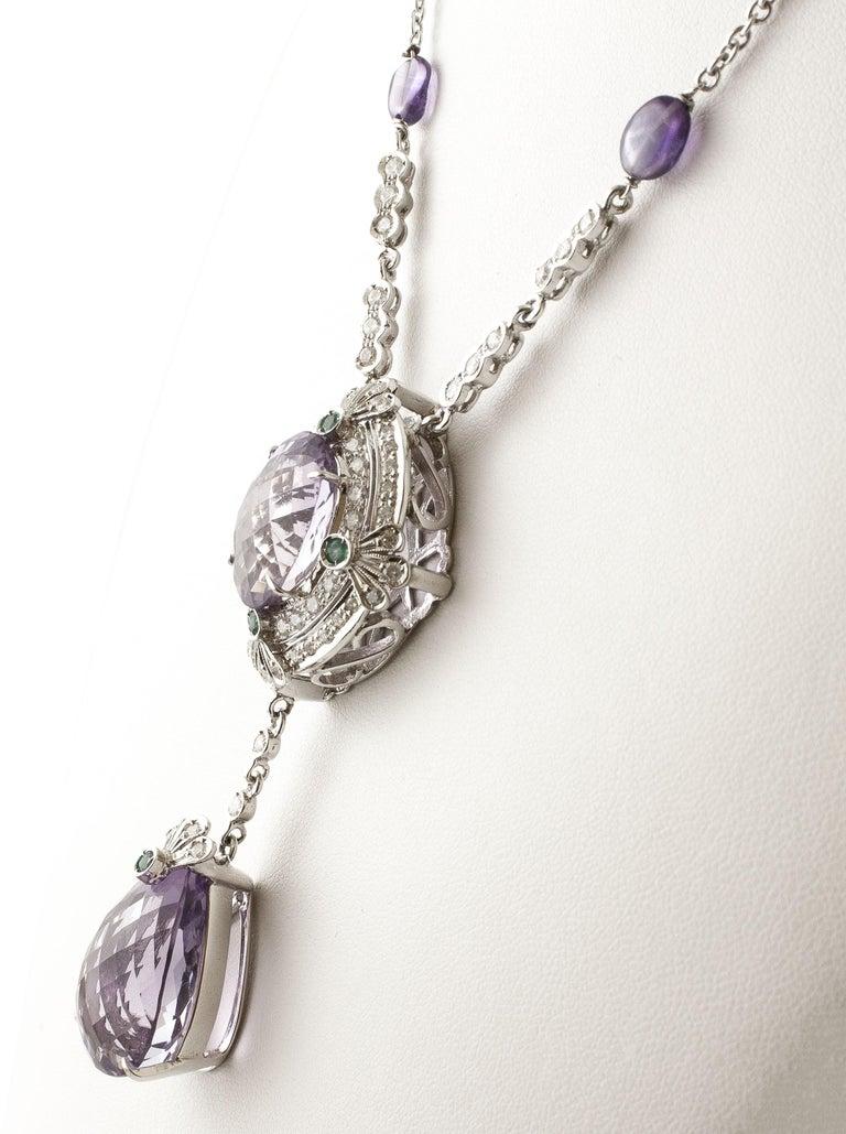 Retro Diamonds, Emeralds, Amethysts, 14 Karat White Gold Pendant Necklace For Sale