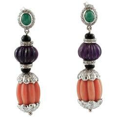 Diamonds, Emeralds, Amethysts, Onyx, Coral, 14 Karat White Gold Dangle Earrings