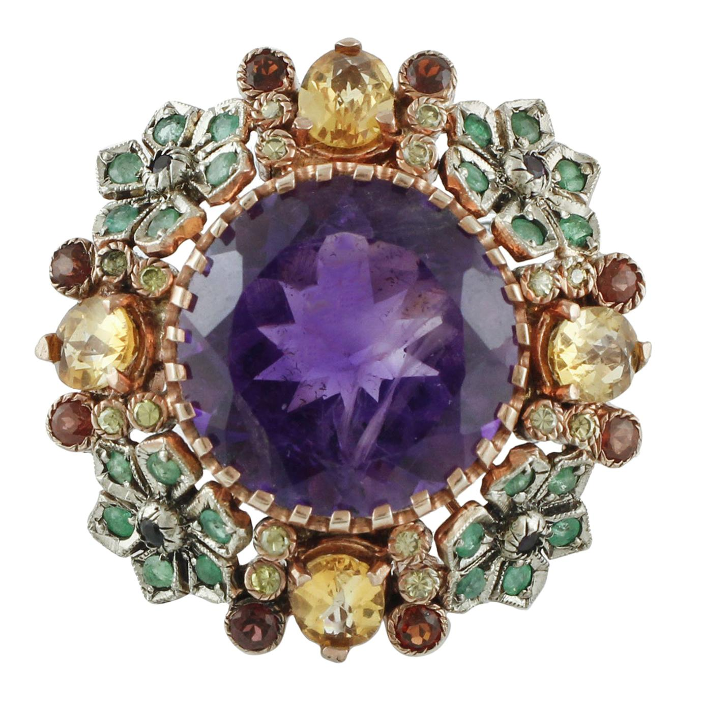 Diamonds Emeralds Amethysts Topazes Garnets Rose Gold and Silver Cocktail Ring