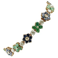 Diamonds, Emeralds, Blue Sapphires, 14 Karat Rose Gold Bracelet