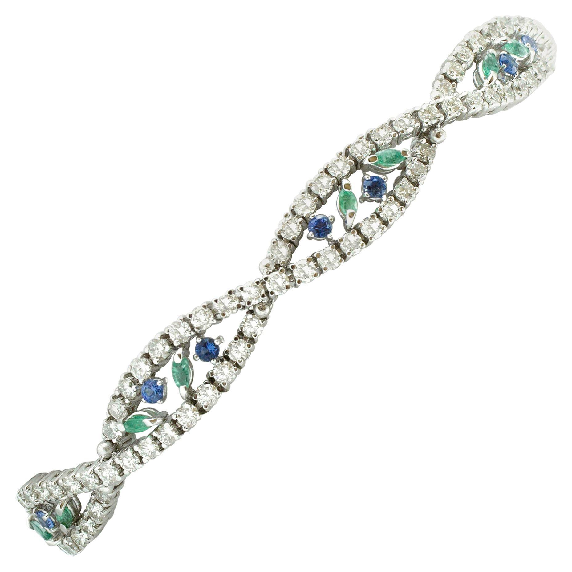 Diamonds, Emeralds, Blue Sapphires, 18 Karat White Gold Bracelet