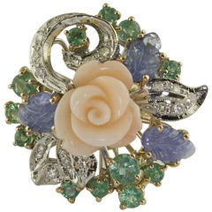 Diamonds Emeralds Blue Sapphires Coral Flower Rose and White Gold Ring