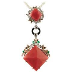 Diamonds Emeralds, Blue Sapphires, Onyx, Coral, Rose/White Gold Pendant Necklace