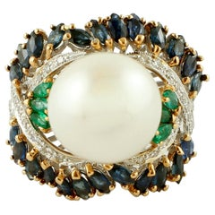 Diamonds, Emeralds, Blue Sapphires, Pearl, 14k White and Rose Gold Cluster Ring