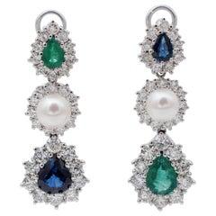 Diamonds, Emeralds, Blue Sapphires, Pearls, 18 Karat White Gold Dangle Earrings
