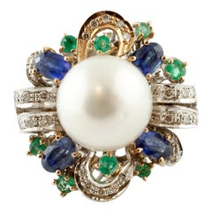 Diamonds, Emeralds, Blue Sapphires, South-Sea Pearl, Rose and White Gold Ring
