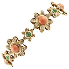 Diamonds, Emeralds, Coral, 14 Karat Rose Gold Flower Bracelet