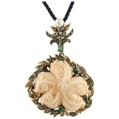 Diamonds Emeralds Coral Star Pearl Rose Gold and Silver Pendant Necklace/Brooch