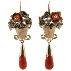 Diamonds, Emeralds,Red Coral,Sapphires, Rubies, Rose Gold and Silver Earrings