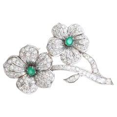 Diamonds Emeralds Flower Brooch 18 Karat White Gold, 1970