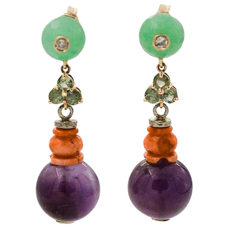 Diamonds, Emeralds, Green Agate, Coral, Amethyst, 14 Karat Gold Drop Earrings