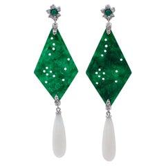 Diamonds, Emeralds, Green Agate, White Coral 18 Karat White Gold Dangle Earrings
