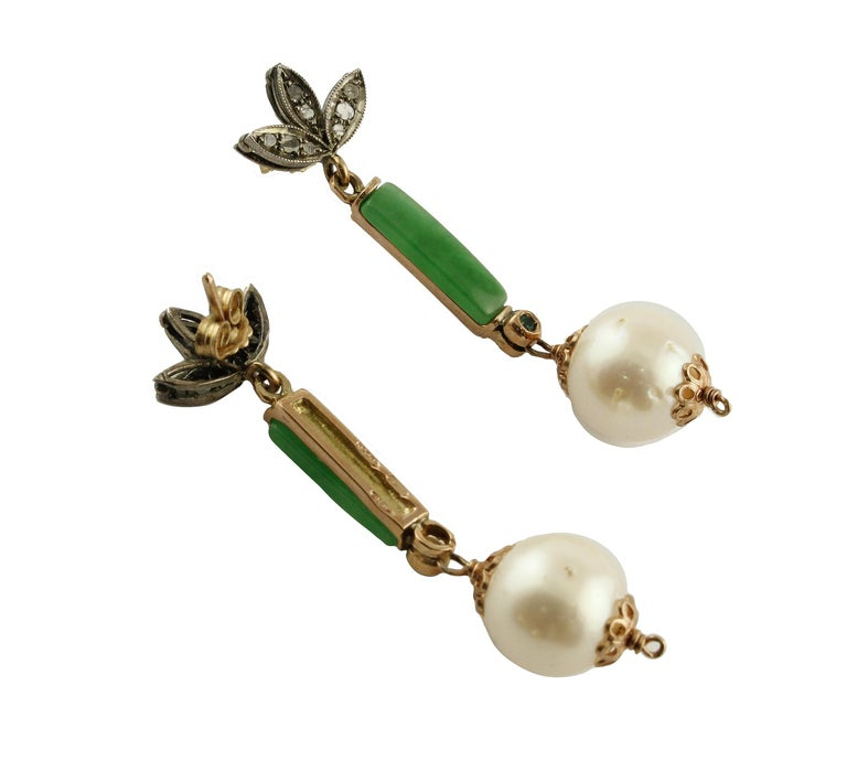 Retro Diamonds Emeralds Green Jade White Pearls Rose Gold and Silver Stud Earrings For Sale