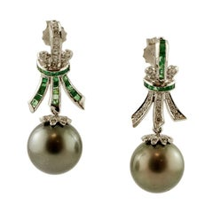 Diamonds, Emeralds, Grey Pearls, 18 Karat White Gold Dangle Earrings