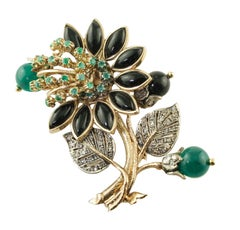 Diamonds Emeralds Onyx Green Agate Rose Gold and Silver Brooch