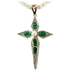 Diamonds, Emeralds, Pearl, 9 Karat Yellow Gold and Silver, Cross Pendant