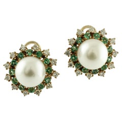 Diamonds, Emeralds, Pearls, 14 Karat Rose Gold Earrings